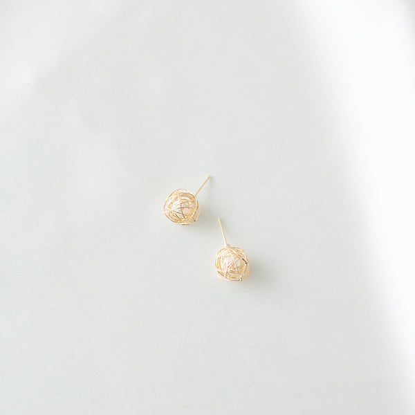 Wire Globe Earrings with Faux Pearl