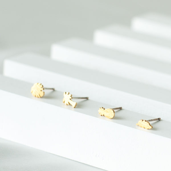 Tropical Mini Stud Set: Pineapple, Monstera Leaf, Palm Tree, Palm Leaf