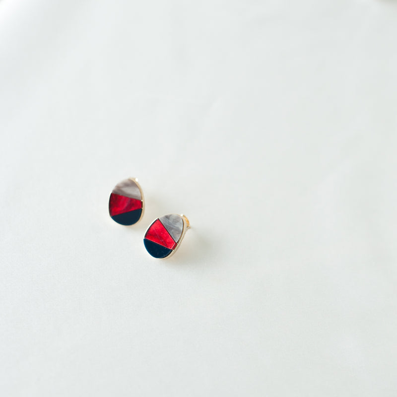 Tricolor Resin Stud Earrings #1