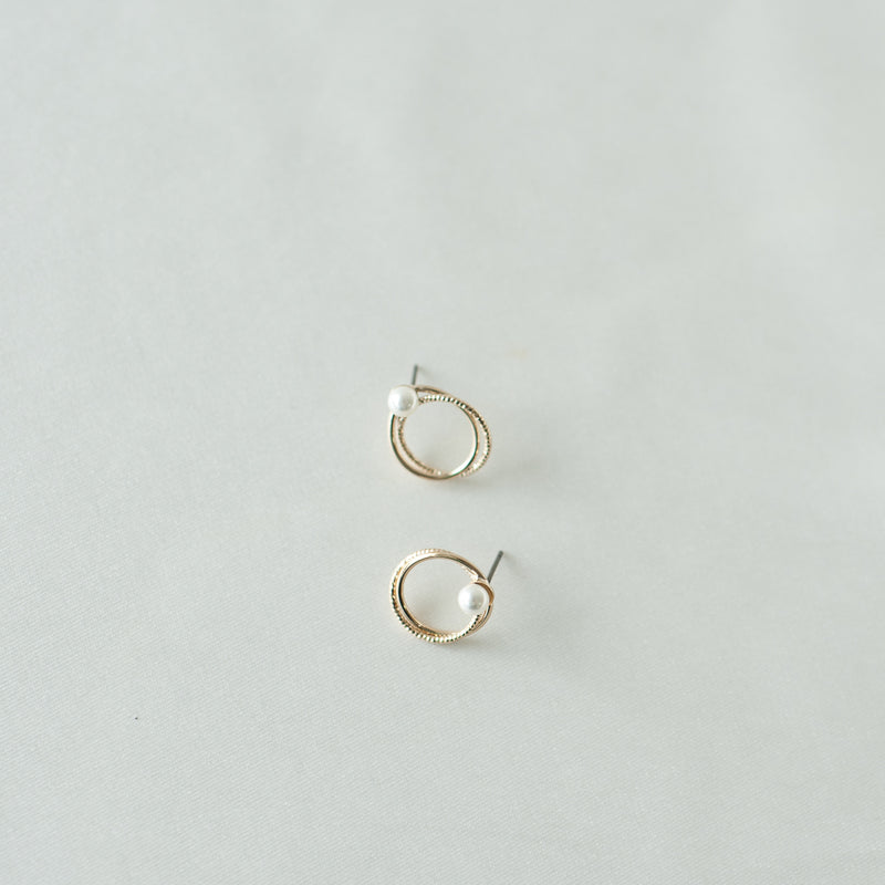 Double Ring Earrings with Faux Pearl