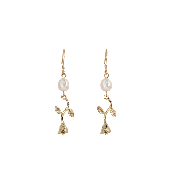 Hanging Rose & Freshwater Pearl Earrings