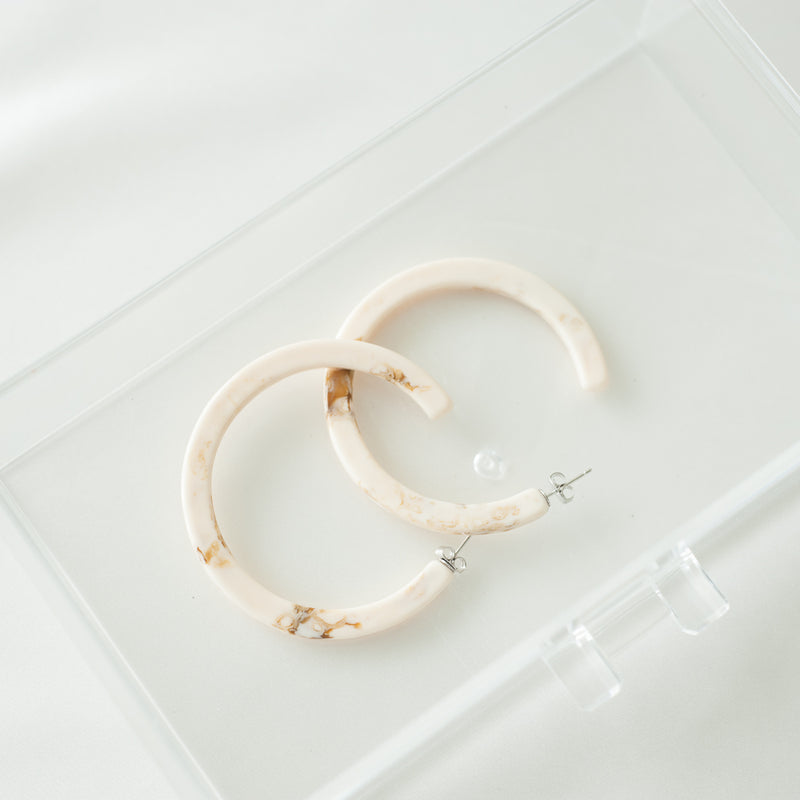 Cream & Tan Resin Hoops