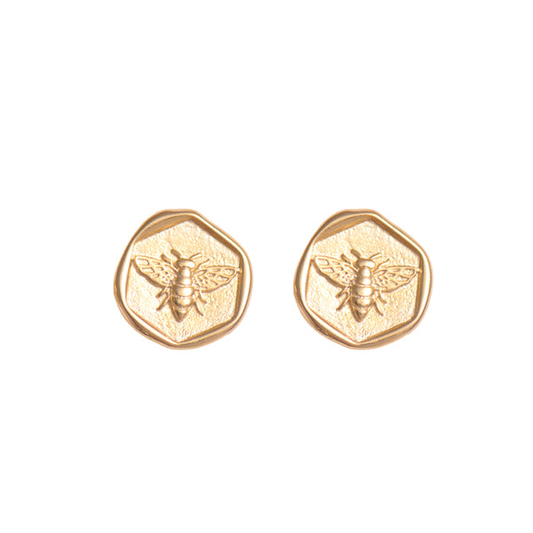 Honeycomb Bee Stud Earrings