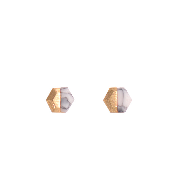 Copper & White Marble Hexagon Stud Earrings