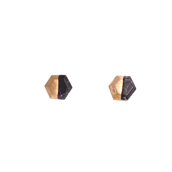 Copper & Black Marble Hexagon Stud Earrings