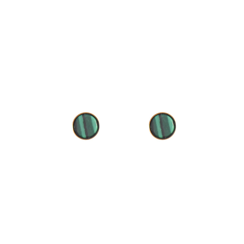 Green Marble Stud Earrings