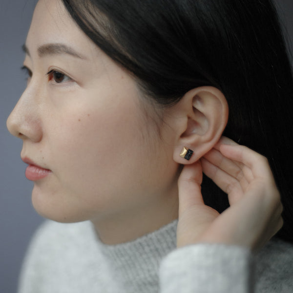 Black Marble Square Stud Earrings