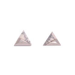 White Marble Triangle Stud Earrings