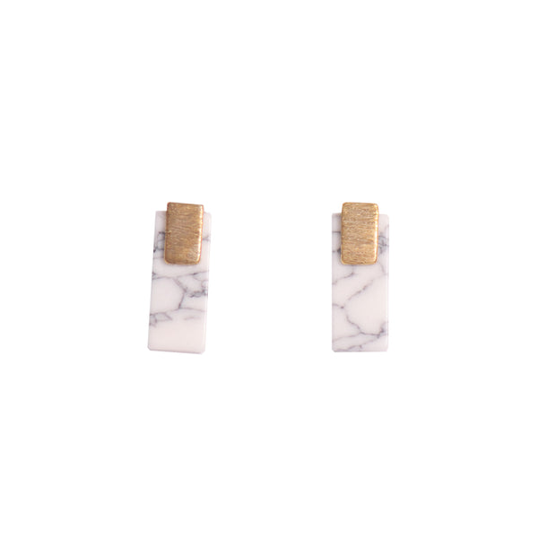 White Marble Bar Stud Earrings