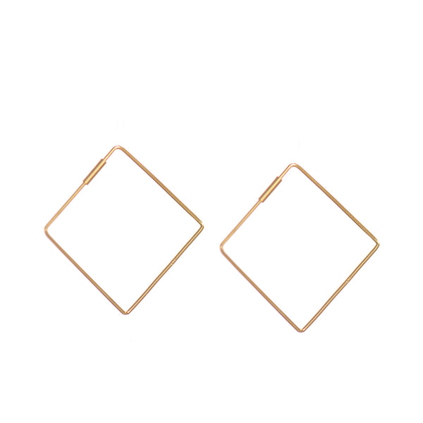 Vermeil Sterling Silver Rectangle Hoop Earrings