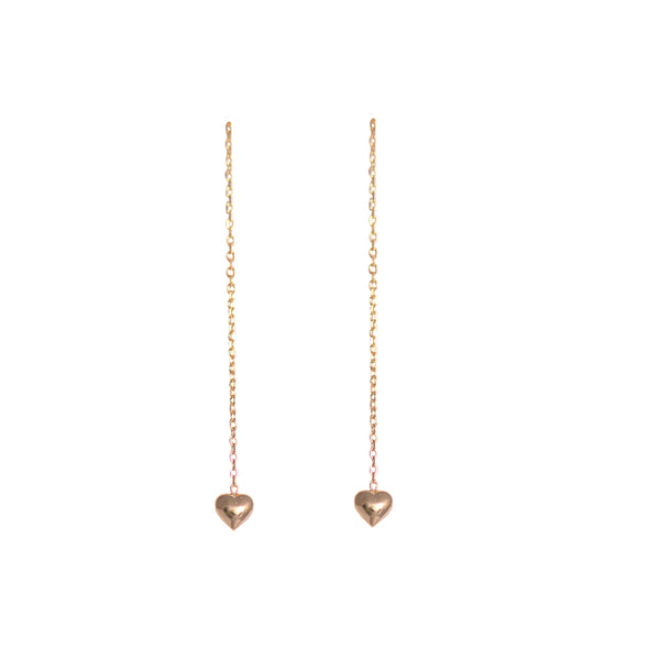 Vermeil Sterling Silver Dangling Heart Earrings