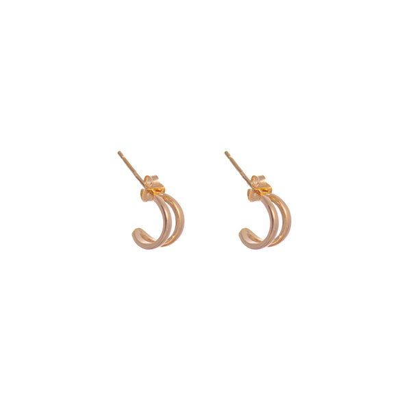 Vermeil Sterling Silver Gold Half Circle Earrings