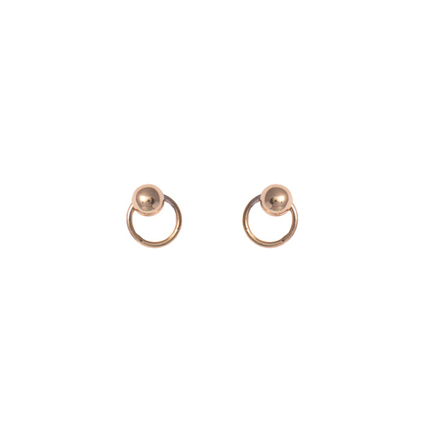 Vermeil Sterling Silver Circle Ball Stud Earrings