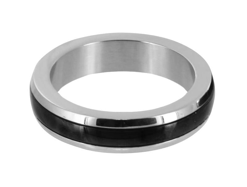 Chrome Stainless Steel Cock Ring with Black Band Size : M-M - Erotic Superstore