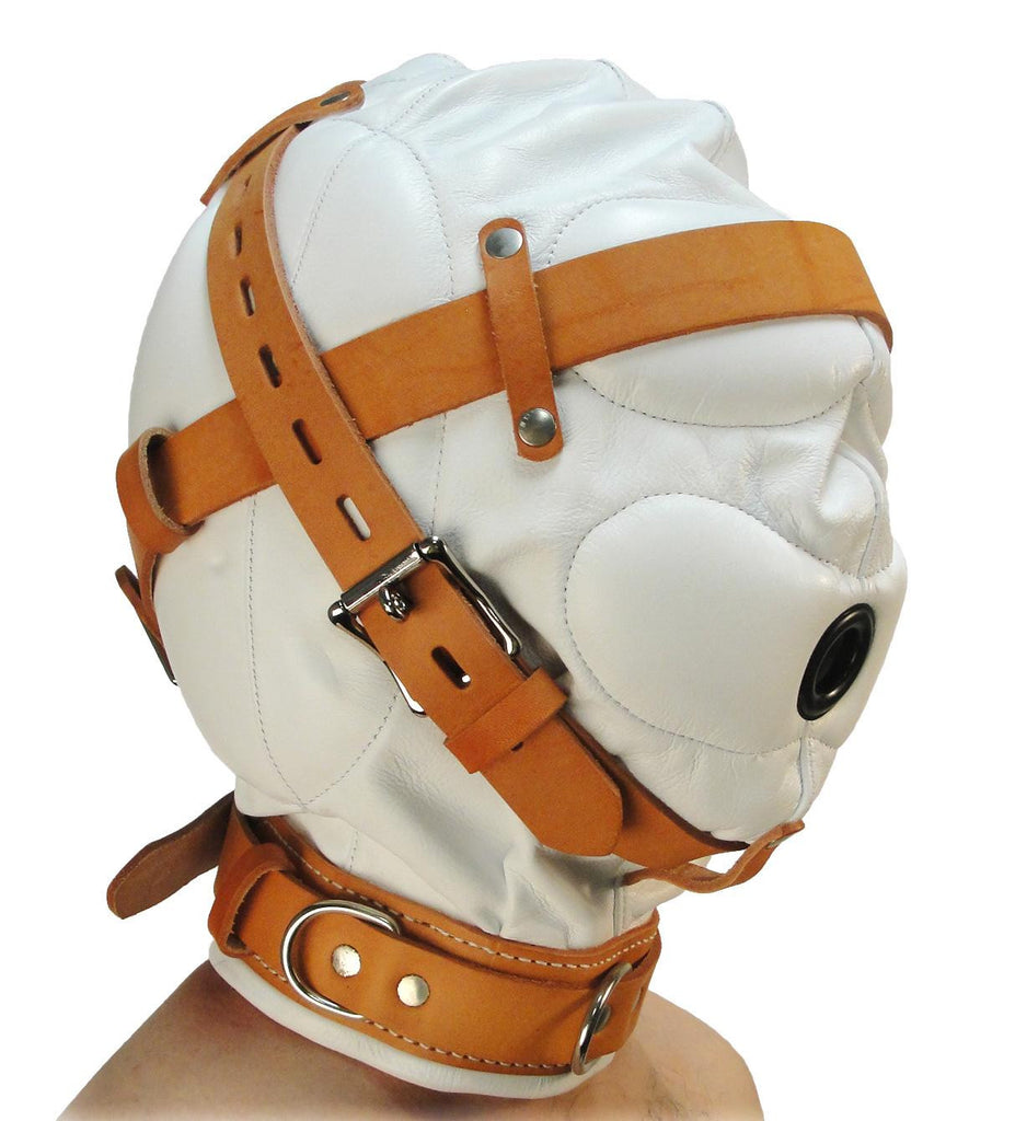 Total Sensory Deprivation White Leather Hood - Medium/Large - Erotic Superstore