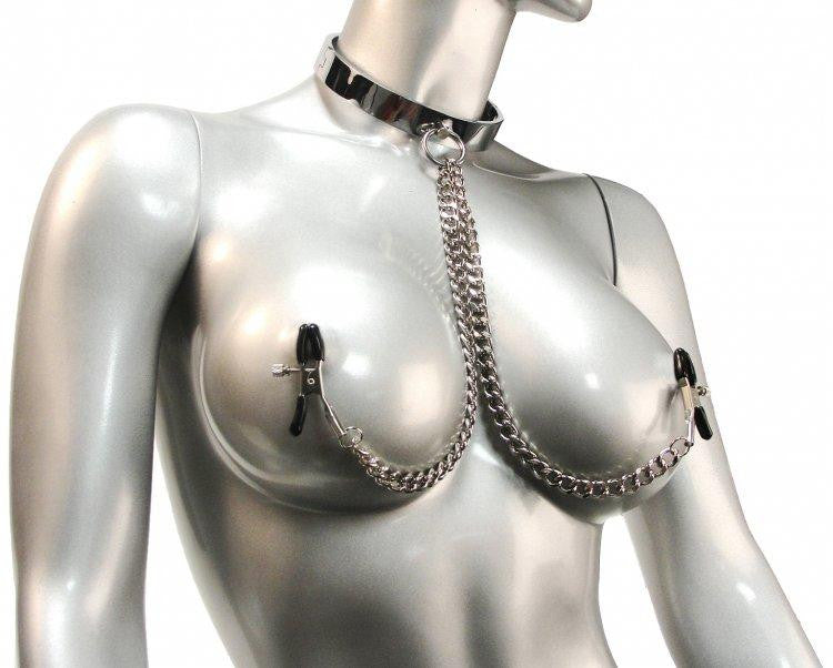 Chrome Slave Collar with Nipple Clamps - Small/Medium - Erotic Superstore