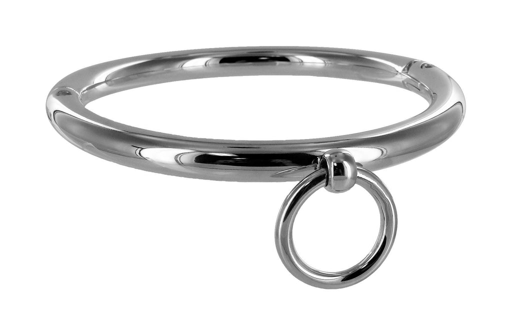 Ladies Rolled Steel Collar with Ring - Erotic Superstore