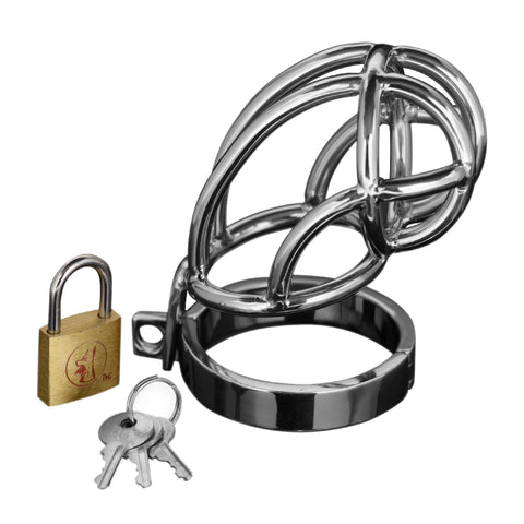 Captus Stainless Steel Locking Chastity Cage - Erotic Superstore