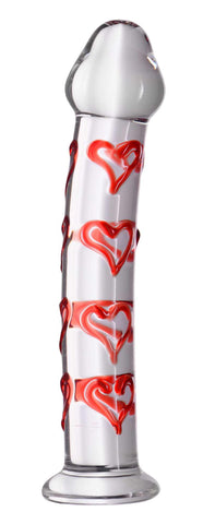 Hearts of Desire Textured Glass Dildo - Erotic Superstore