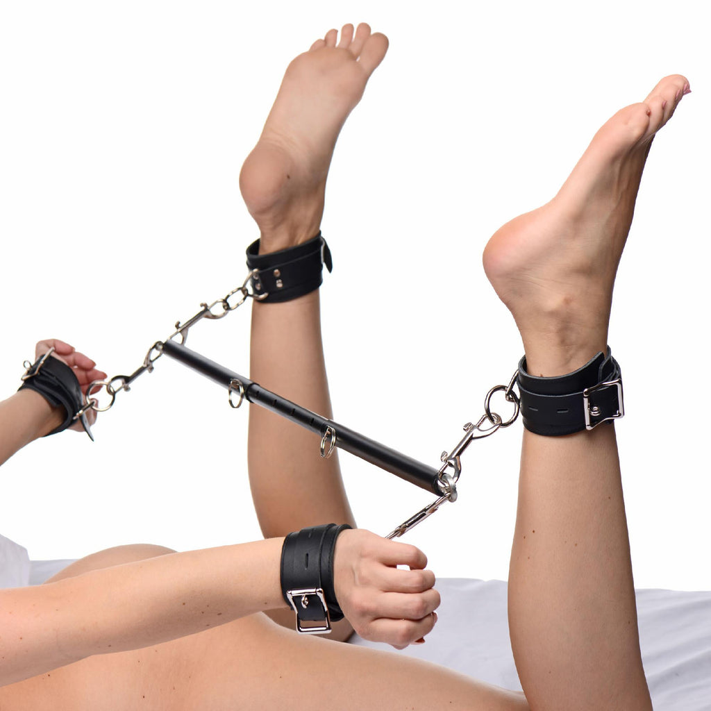 Black Doggy Style Spreader Bar Kit with Cuffs - Erotic Superstore