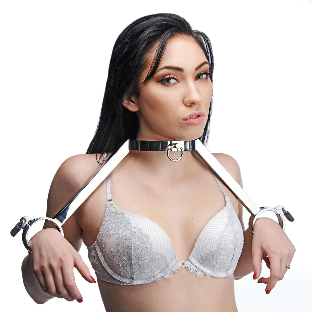 At Your Mercy Stainless Steel Neck to Wrist Restraints - Erotic Superstore