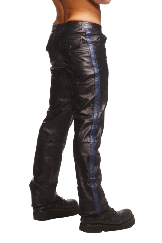 Police Leather Pants with Blue Stripe Size : 32-32 - Erotic Superstore