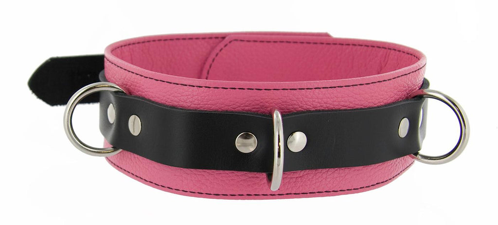 Strict Leather Deluxe Locking Collar - Pink and Black - Erotic Superstore
