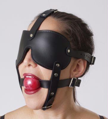Gag and Blindfold Head Harness Color : Red - Erotic Superstore