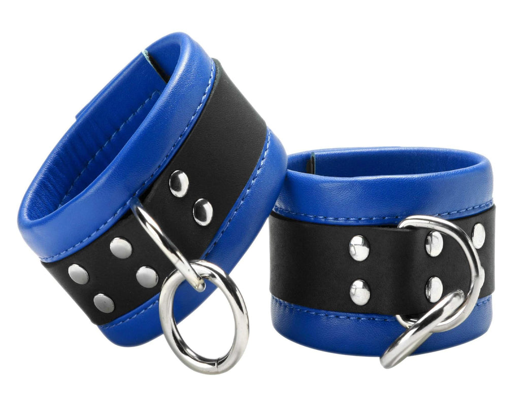 Blue Mid-Level Leather Wrist and Ankle Restraint Size : Wrist-Wrist - Erotic Superstore
