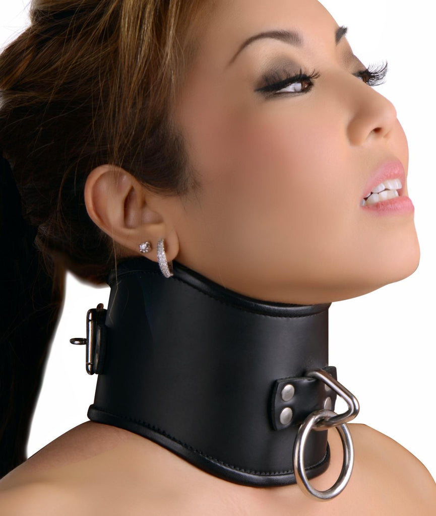 Strict Leather Locking Posture Collar Size : M-Medium - Erotic Superstore