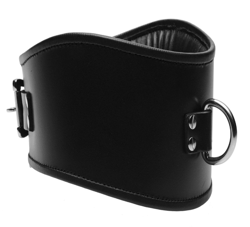 Padded Leather Locking Posture Collar - Erotic Superstore