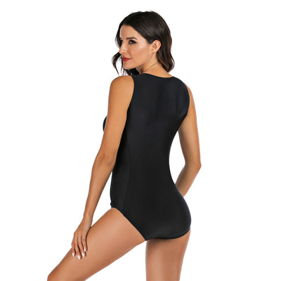 surf swimsuit womens sleeveless one piece tanlines bodysuit rashguards Monokini Black Surf