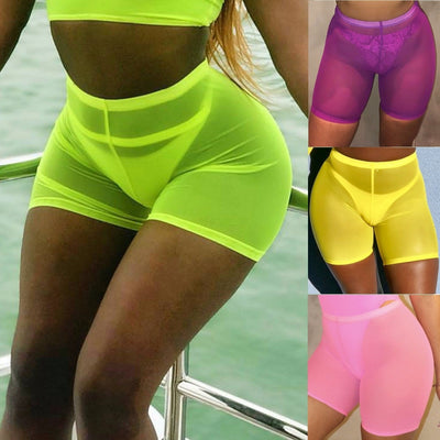 Actionjerseys Neon Party Biker Shorts Outfit High Waist Mesh Transaparent Sexy Women Shorts