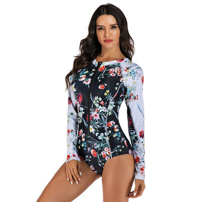 surfing suit print floral one piece swimsuit retro actionjerseys