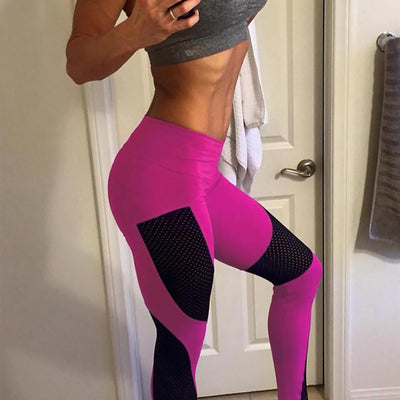 Actionjerseys High Waisted Joggers Leggings Yoga Pants Slim Line Mesh Patchwork