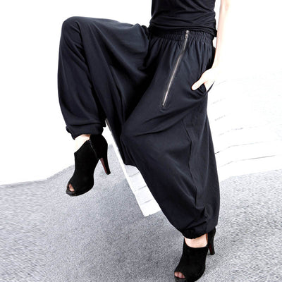 Actionjerseys Women's Black Harem Pants Long with Pockets Gothic Style