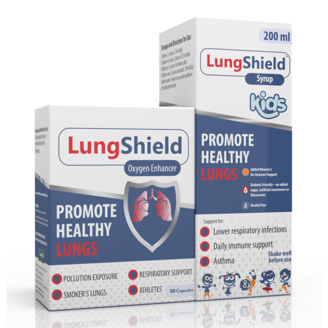 Lungshield (30 capsules) & Lungshield (Syrup 200ml) (One of each)