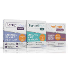 Load image into Gallery viewer, Fertility Starter pack (1 Fertipil Plus Women + 1 Fertipil plus for Men + 1 Fertivor Ovulation Support)