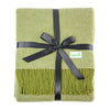 Calyx Interiors Checked Lambswool Blend Throw Blankets Brick/cream with fringe - Green orchard/cream