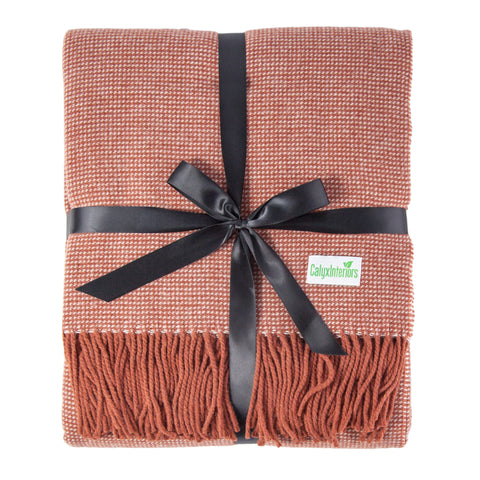 Calyx Interiors Checked Lambswool Blend Throw Blankets Brick/cream with fringe - Brick/cream