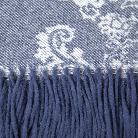 Calyx Interiors Damask Lambswool Blend Throw Blankets Navy/gray with navy fringe