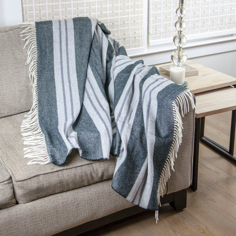 Calyx Interiors Classic Striped Lambswool Blend Throw Blankets Charcoal/Gray with white fringe