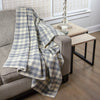 Calyx Interiors 100% Wool Plaid Throw Blankets Light gray/cream
