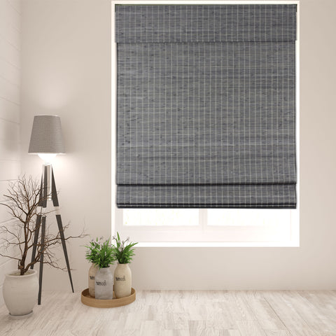 Semi-Privacy Grey-Brown Bamboo Cordless Roman Shade, Width: 18