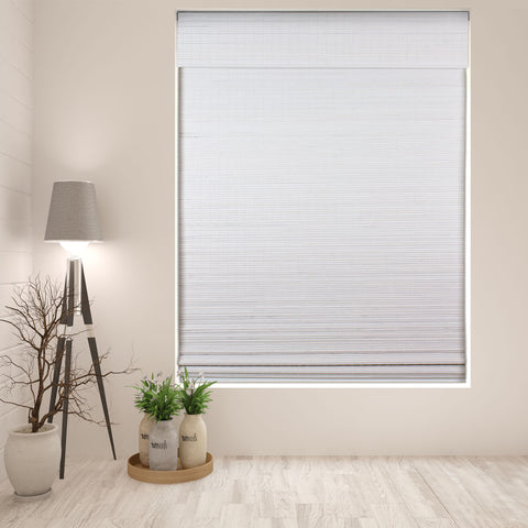 Privacy White Bamboo Cordless Roman Shade, Width: 18