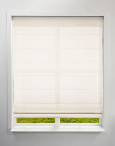 Cordless Fabric Roman Shades Light Filtering Ivory,Width from 22