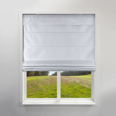 Cordless Fabric Roman Shades Light Filtering Faux Silk Grey,Width from 24