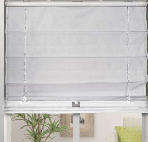 Cordless Fabric Roman Shades Blackout White,Width from 22