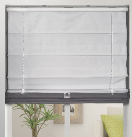 Cordless Fabric Roman Shades Blackout Graphite,Width from 22