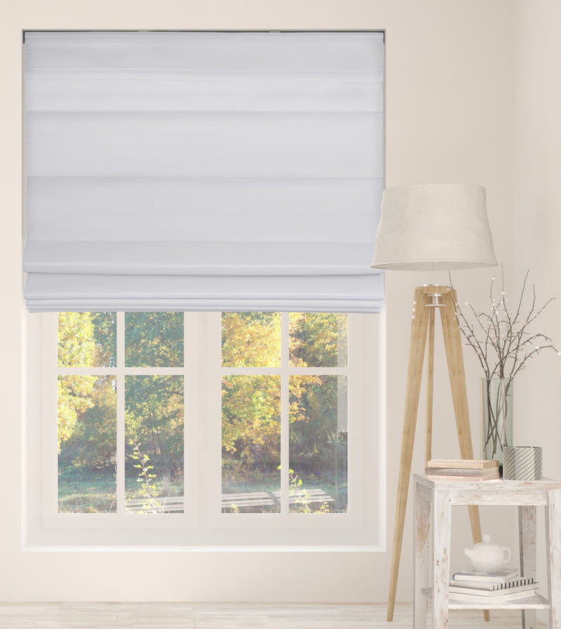 Cordless Fabric Roman Shades Light Filtering Cloud White with white Backing